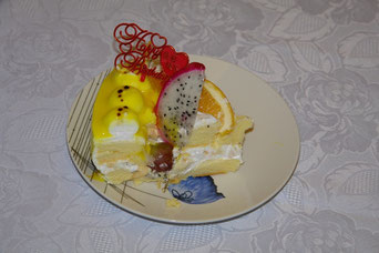 Sieht einfach lecker aus, so ein chinesischer Geburtstagskuchen.