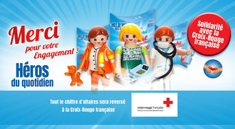 Playmobil solidaire avec la Croix-Rouge française.