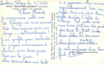 Carte postale de Vélizy datée du 04 avril 1960.