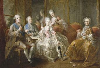 La famille du duc de Penthièvre en 1768 ou La tasse de chocolat de Jean-Baptiste Charpentier le Vieux (1728 - 1806).