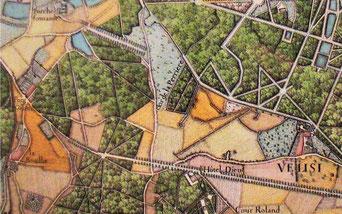 Le Clos de Vélizy - Extrait du plan de l'abbé de la Grive – 1740.