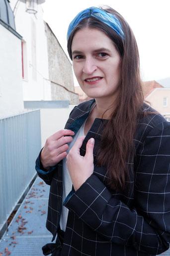 Hosenanzug mit Paperbaghose Blazer nähen selbstgenäht Nähblog