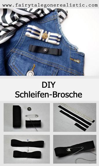 DIY-Anleitung Brosche Schleifen-Brosche Ripsband Nähen DIY Mode Nähblog Fairy Tale Gone Realistic