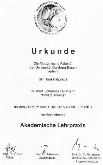 Hausarztzentrum Kellen Akademische Lehrpraxis Dr. med. Johannes Hußmann Universität  Duisburg-Essen