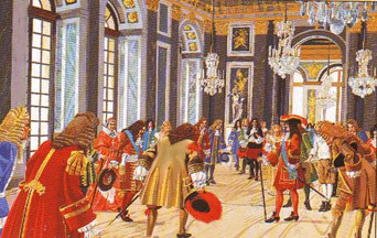 Louis XIV et sa cour dans la galerie des glaces