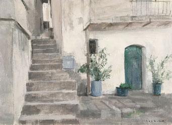 石段と白い家(イタリア)4号油彩