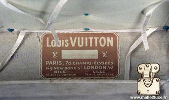 Etiquette malle Louis Vuitton :  Louis VUITTON Paris - 70 champs élysées 149 new bond st  London w Nice 12 avenue de Verdun  Lille 34, rue Faidherbe
