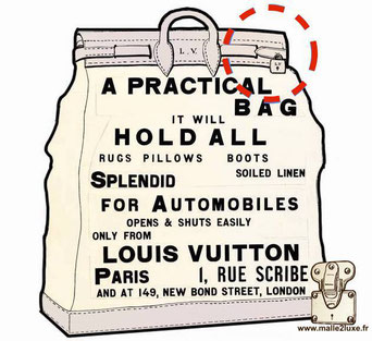 """94 / 5000 Résultats de traduction 1901 Steamer bag under the name of the inviolable (""""which protects your privacy""""), George Vuitton"""