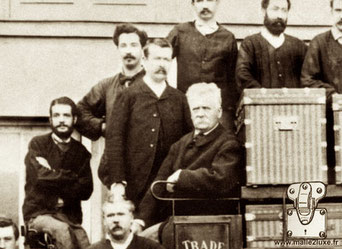 Georges et Louis - Pose with the craftsmen of the workshops of Asnieres - 1888