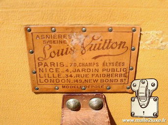 Etiquette Lozine wardrobe malle Louis Vuitton :   Asnières sur seine Louis VUITTON Paris - 70 champs élysées Nice - 4 jardin public Lille - 34 rue Faidherbe London -149 new bond st Modele déposé