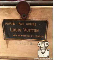 Etiquette Malle et valise :   Paris 1 rue Scribe  Louis Vuitton 149 New Bond St London