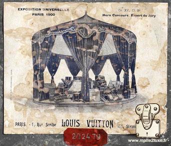 etiquette ancienne malle Louis Vuitton