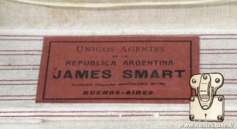 Etiquette agent :   Unicos Agentes en la  Républica Argentina JAMES SMART Floride esquina bartolome mitre Buenos-aires