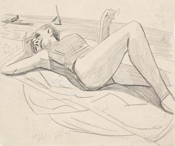Max Beckmann, Schlafende am Strand (Quappi), 1927  Museum der bildenden Künste Leipzig, Nachlass Mathilde Q. Beckmann