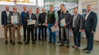 40 Jahre im Betrieb: Horst Bütterich, Franz Donhauser, Michael Härtl, Hermann Obermeier, Gerhard Reindl, Egid Schmid, Klaus Stadlmann