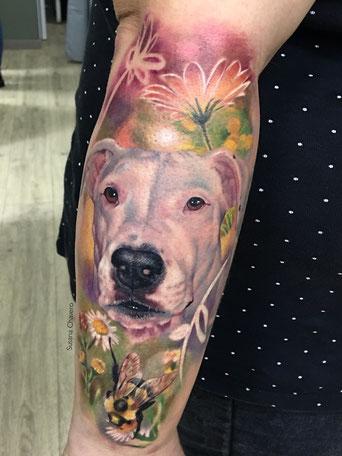 Tattoo perro realista