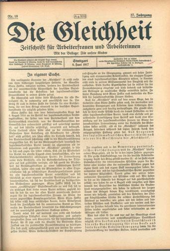 Bild: Foto: Die Gleichheit Titelblatt 1917,