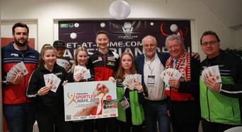 Foto ITTF  Remy Gros - Ecker, Maienburg, Reiter, Chung,Polcanova, Kühberger, Renner, Friedinger, Bichler