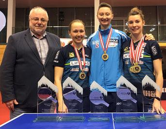 3 von 5 möglichen Staatsmeistertitel  LINZ AG Froschberg - Polcanova im Einzel, Mischek mit Diendorfer das Damen Doppel und Mischek mit Grininger das Mixed