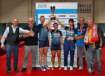 Foto Plohe - 2019 zum 7. Mal Österreichischer Cupsieger - LINZ AG Froschberg  vl Polcanova, Bergström, Hamamoto