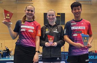 ÖTTV U19 Top 10 - U-19 Siegerin Anastasiya Radzionava, Dritte Romy Reiter, U-19 Sieger Zhenlong Liu