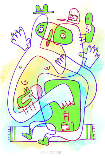 Illustration mit knalligen Farben zum Thema Alkoholsucht, von Frank Schulz Art