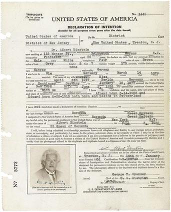 Einsteins Einwanderungsurkunde von Januar 1936