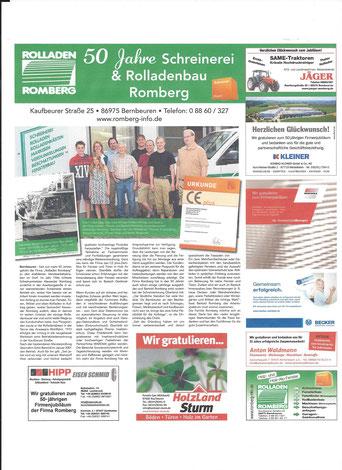 Aktuell: Zeitungsartikel im Juli 2016 in den Schongauer Nachrichten