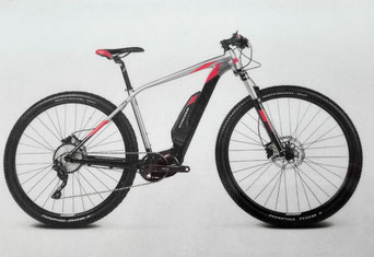 "E-Bike MTB 29"",  Fork: SR Suntour XCR 32 RL, Color: silver-red"