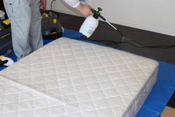 ベッドマットレス表面に当社オリジナル専用洗剤を噴霧します。