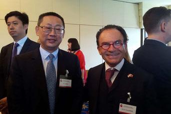 links von mir: der Geschäftsführer der Bank of China in Wien Herr Xu Jiandong
