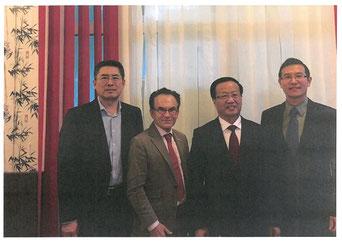 Von links nach rechts: Bo JIANG, Dr. Georg Zanger, Xidian ZHAO, Xingle Gao