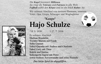 Todesanzeige in der Lausitzer Rundschau