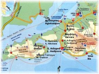 Ausschnitt Landkarte Nordeuböa