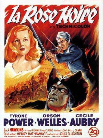 Affiche du film La Rose Noire de H Hathaway avec Tyrone Power, Orson Welles, Cécile Aubry et Jack Hawkins