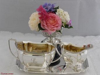 Antike Silber Zucker und Milch Sets