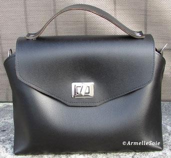 sac à main, sac a main chic, noir, similicuir,  qualité, ait main, fabriqué en France, Bretagne,  bandoulière, réglable, femme,