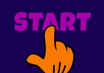 "Pointing finger. ""Start"" word"