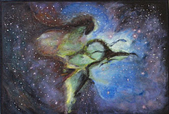 Adlernebel-Weltraumbild gemalt mit Acryl auf Leinwand
