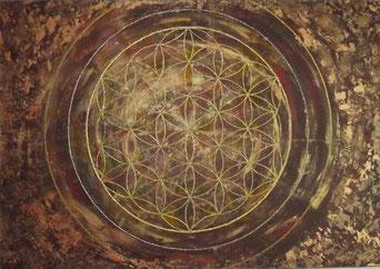 Blume des Lebens Acryl auf Leinwand. Energiebild in Naturfarben und Gold