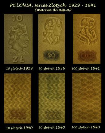 Polonia serie zlotych 1929-1941 marcas de agua - filigranas