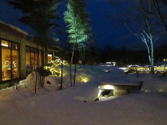 中庭のLEDライトも雪にうずもれています。