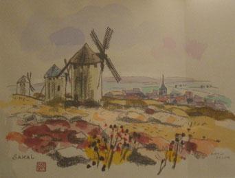 控えの部屋にあったラ・マンチャの水彩画