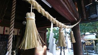 十社大神 向拝 収穫したイセヒカリの稲穂でつくった注連縄 しめ縄