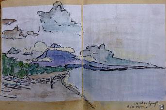 la plage d'Amed et le volcan Agung dessiné par Daniel