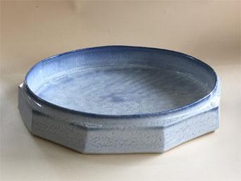 もみ灰釉呉須染面取水盤