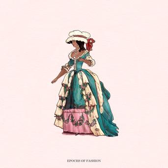 Lady in a teal Georgian Era Robe and a floofy cap