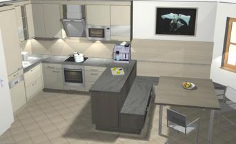 Moderne 3D-Küchenplanung