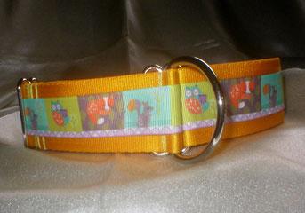 Zustopp, Halsband, 4 cm, Gurtband sonnengelb, Borte mit Waldtieren