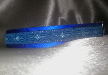 Martingale, Halsband, 2,5 cm, Gurtband königsblau, edele Borte